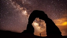 A silhouette of a man under the night sky