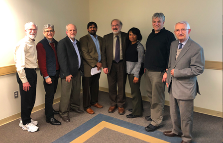 Professor Shankar Nair, University of Virginia ( left with GW Religion faculty) gave the 2019 Berz Lecture.
