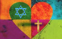 Colorful heart with Star of David and Christian cross