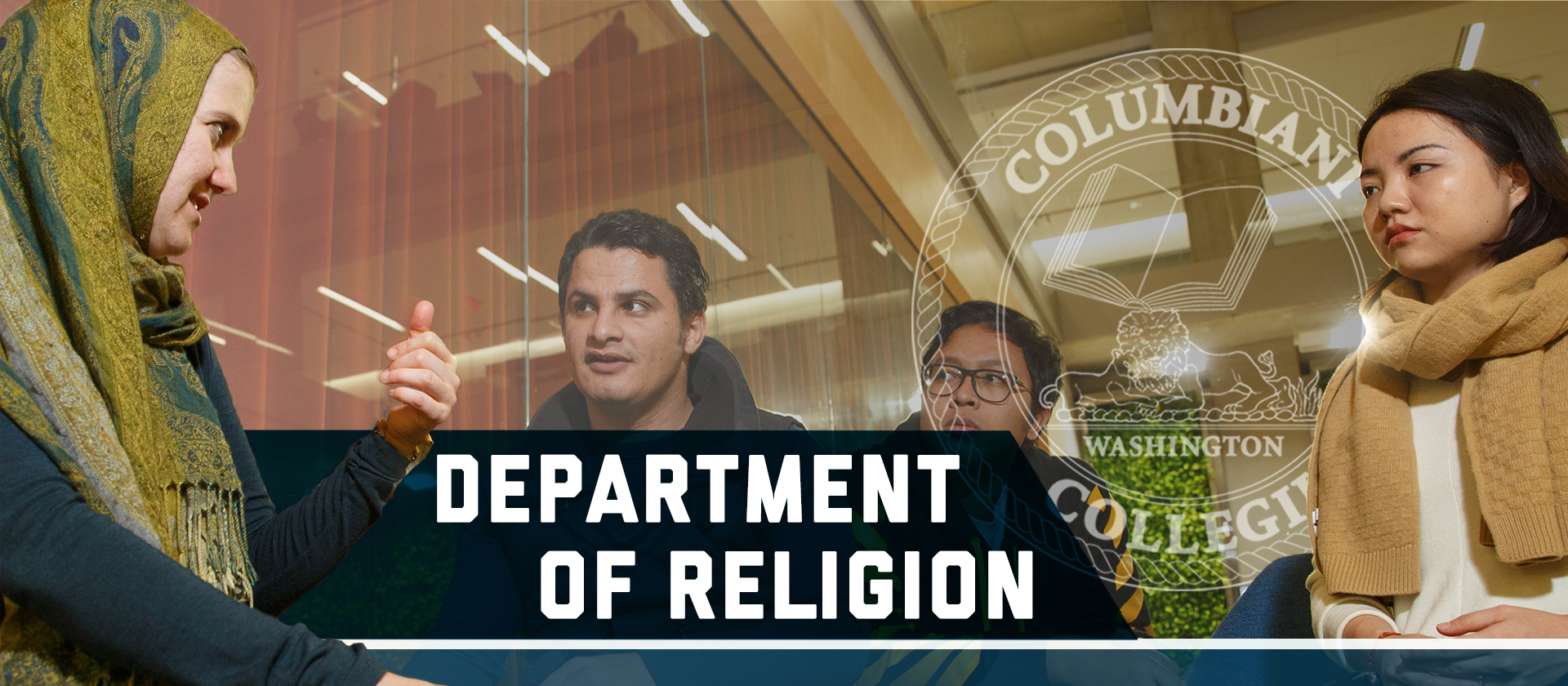 Columbian College Department of Religion. A group of four students talking