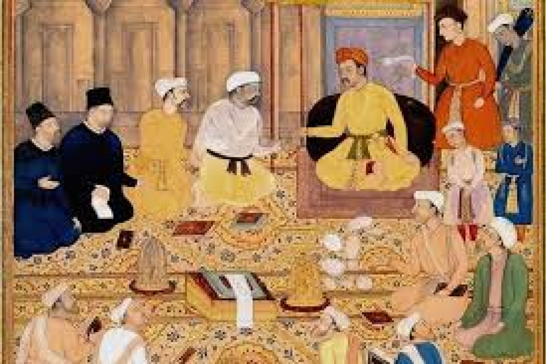 Painting of Hindu and Muslim Scholars sitting in a room.
